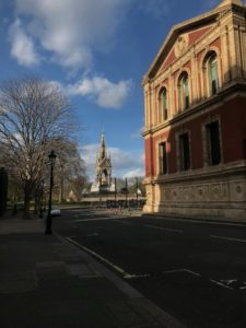 Royal Albert Hall with empty streets on a sunny day